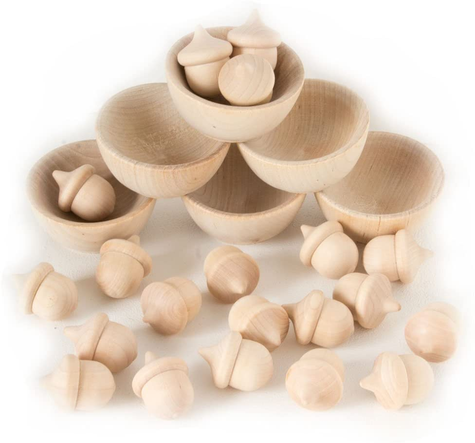 Wood Acorn Sorting Set