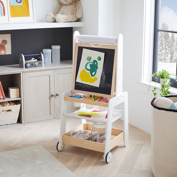 Wood Easel with Storage on wheels
